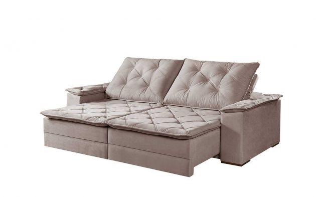 Sofá Gramado Braço Almofada Retrátil e Reclinável com Molas e Várias Cores e Tecidos