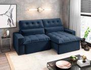 Sofá Monster Pillow Colorado Retrátil e Reclinável Tecido Jolie Azul 30